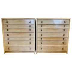 Pair of Matching Paul Frankl Tall Dressers High Chest of Drawers with X-Pulls