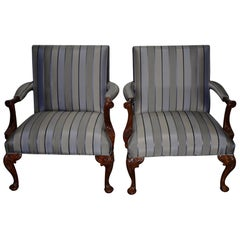 Pair of Matching Ralph Lauren Carved Mahogany and Upholstered Armchairs