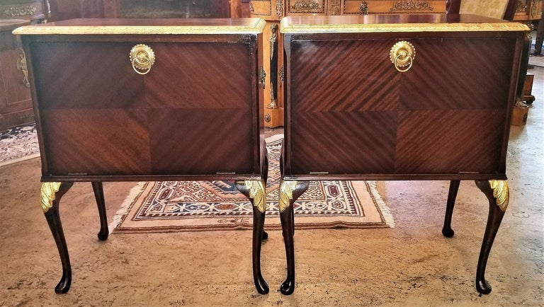 Pair Of Matching Side Tables Or Nightstands With Gilt