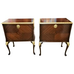 Pair of Matching Side Tables or Nightstands with Gilt Accents