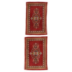 Pair of Matching Vintage Persian Kashan Scatter Rugs with Jacobean Style