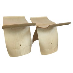 Pair of Matching Vitra Signed Butterfly Stools Stands in Maple by Sori Yanagi