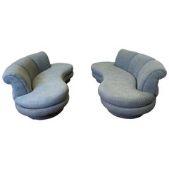 Pair of Matching Vladimir Kagan Cloud Sofas New Upholstered in Slate Gray