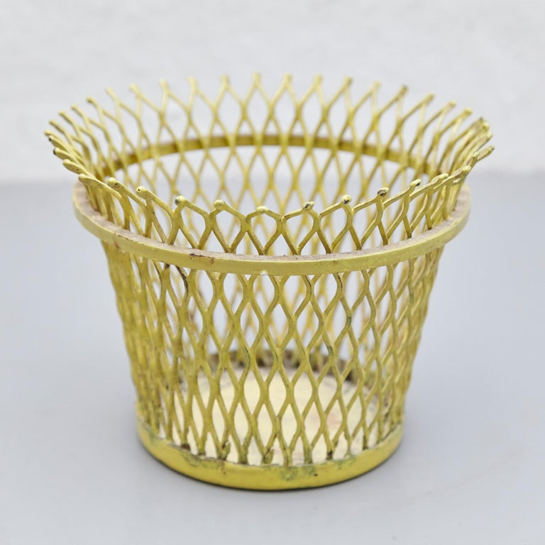Pair of Mathieu Matégot, Mid Century Modern, Enameled Metal Basket, circa 1950 For Sale 4