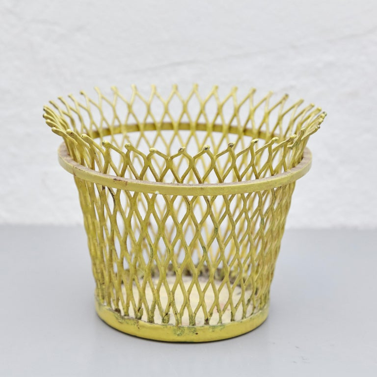 Pair of Mathieu Matégot, Mid Century Modern, Enameled Metal Basket, circa 1950 For Sale 5