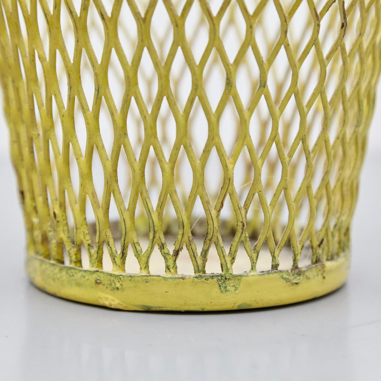 Pair of Mathieu Matégot, Mid Century Modern, Enameled Metal Basket, circa 1950 For Sale 6