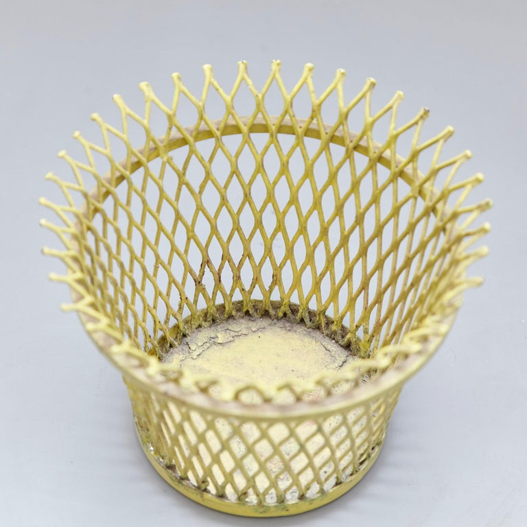 Pair of Mathieu Matégot, Mid Century Modern, Enameled Metal Basket, circa 1950 For Sale 7
