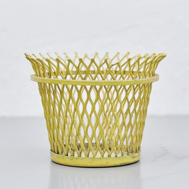 Mid-Century Modern Pair of Mathieu Matégot, Mid Century Modern, Enameled Metal Basket, circa 1950 For Sale