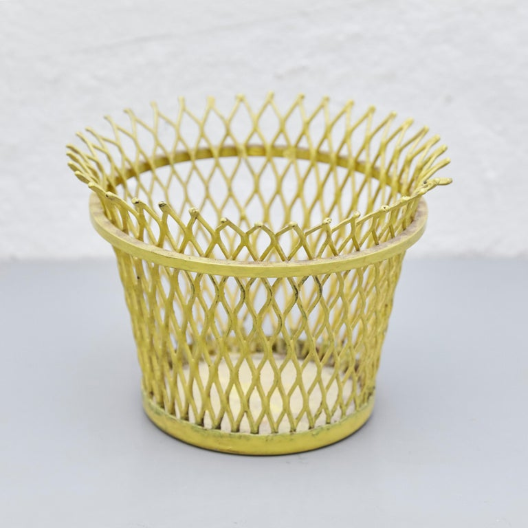 French Pair of Mathieu Matégot, Mid Century Modern, Enameled Metal Basket, circa 1950 For Sale