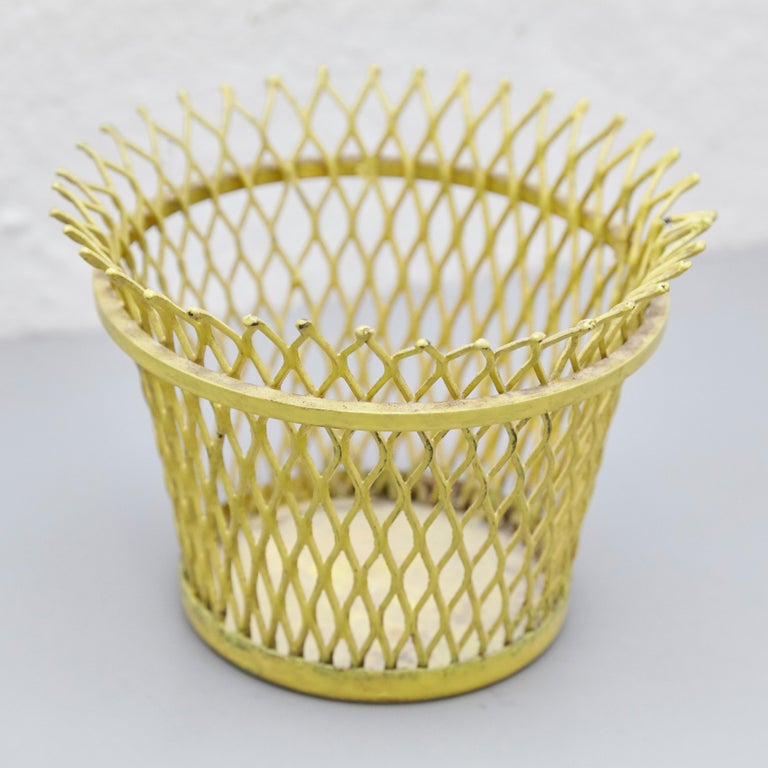 Pair of Mathieu Matégot, Mid Century Modern, Enameled Metal Basket, circa 1950 In Fair Condition For Sale In Barcelona, Barcelona