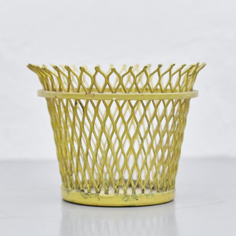 Pair of Mathieu Matégot, Mid Century Modern, Enameled Metal Basket, circa 1950 For Sale 3