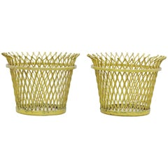 Pair of Mathieu Matégot, Mid Century Modern, Enameled Metal Basket, circa 1950
