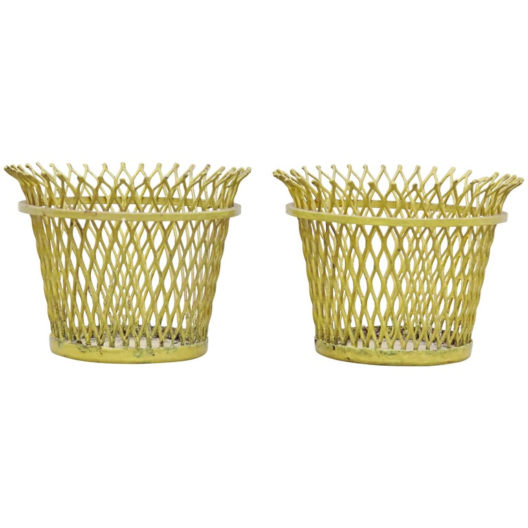 Pair of Mathieu Matégot, Mid Century Modern, Enameled Metal Basket, circa 1950 For Sale
