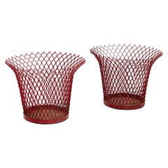 Pair of Mathieu Matégot Enameled Metal Basket, circa 1950, Free Shipping