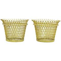 Pair of Mathieu Matégot, Mid-Century Modern, Enameled Metal Basket, circa 1950