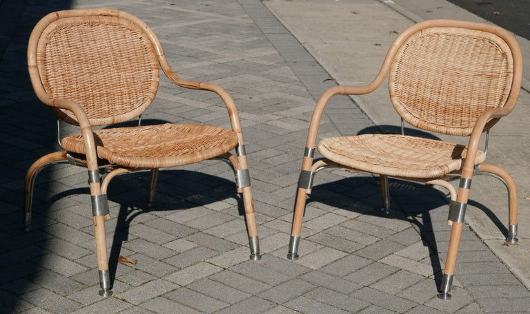Contemporary Pair of Mats Theselius Rattan and Steel Chairs for Ikea For Sale