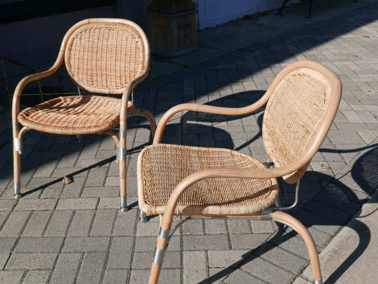 Pair of Mats Theselius Rattan and Steel Chairs for Ikea For Sale 1