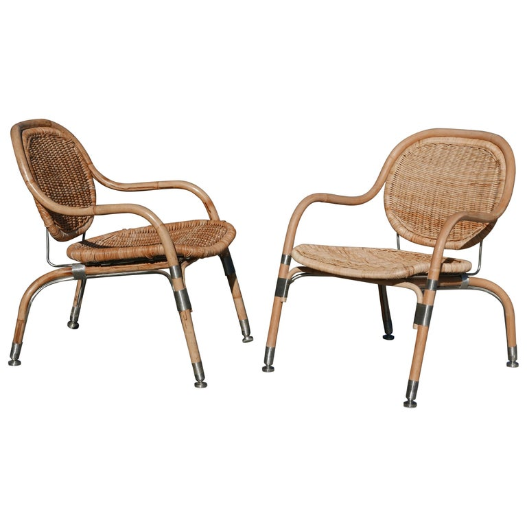 Pair of Mats Theselius Rattan and Steel Chairs for Ikea For Sale