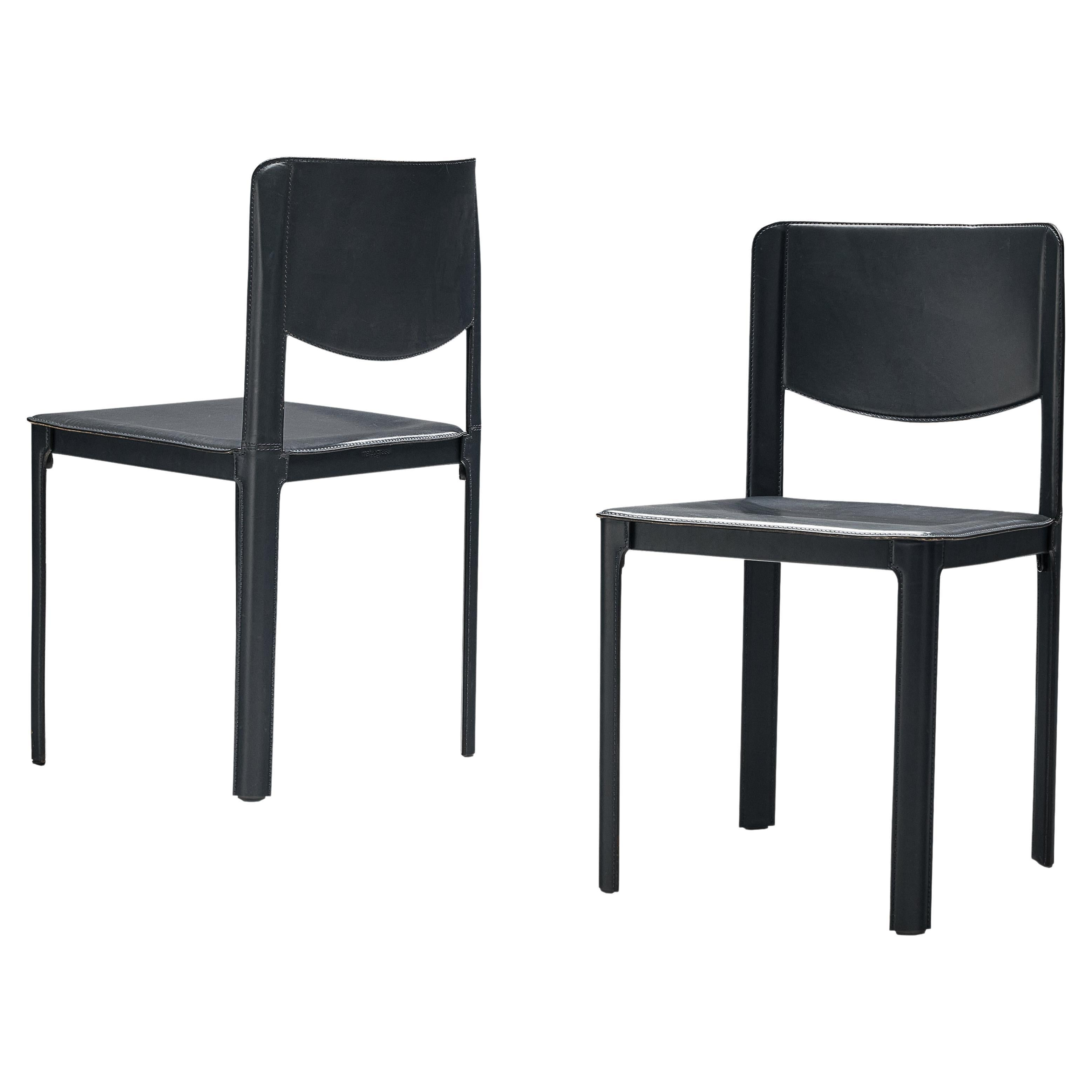 Pair of Matteo Grassi Dining Chairs in Leather and Steel