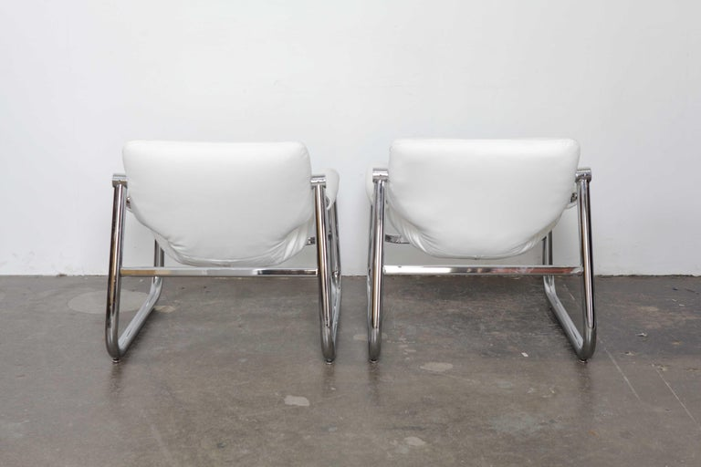 Brazilian Pair of Maurice Burke Tubular Chrome and White Leather Chairs for Pozza, Brazil For Sale