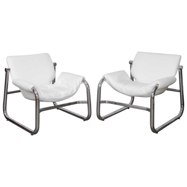 Pair of Maurice Burke Tubular Chrome and White Leather Chairs for Pozza, Brazil For Sale