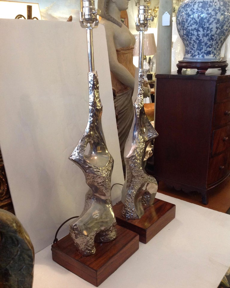 American Pair of Maurizio Tempestini Brutalist Rock Form Lamps For Sale