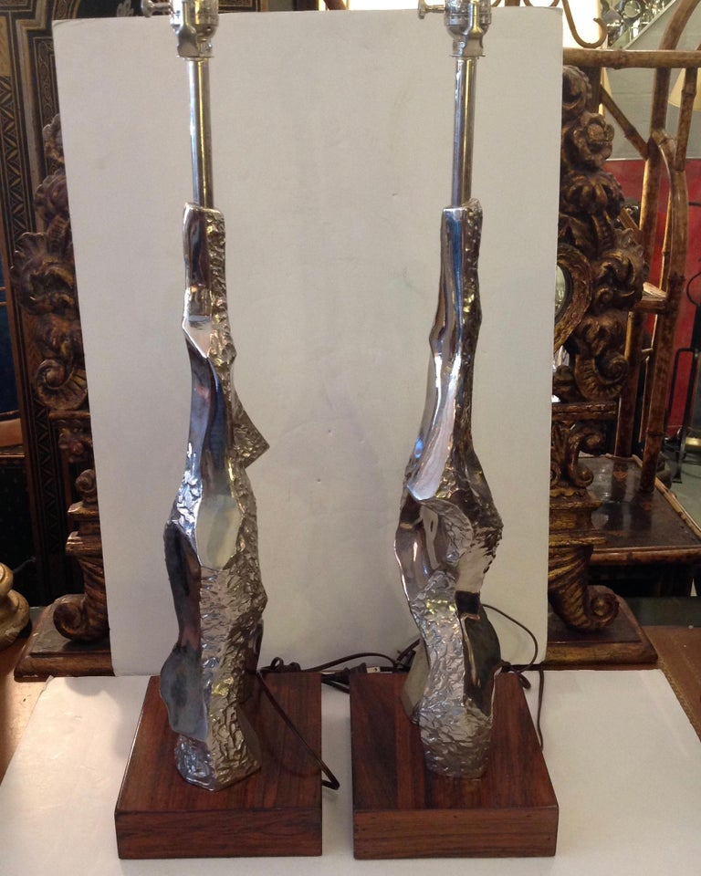 20th Century Pair of Maurizio Tempestini Brutalist Rock Form Lamps For Sale