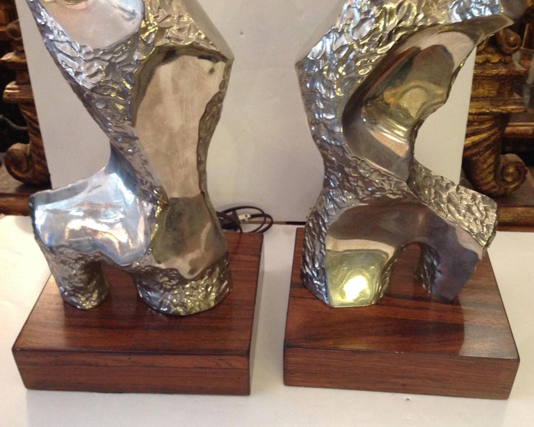 Metal Pair of Maurizio Tempestini Brutalist Rock Form Lamps For Sale
