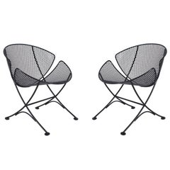 Pair of Maurizio Tempestini Outdoor Patio Iron Lounge Chairs, Mid-Century Modern