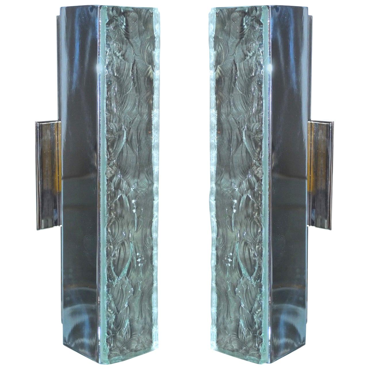 Pair of Max Ingrand for Fontana Arte #2368 Chiseled Glass & Nickel Wall Sconces