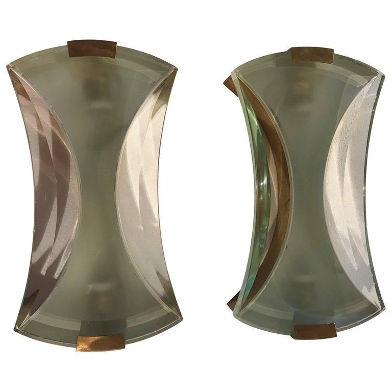 2 Pairs of Max Ingrand Wall Sconces for Fontana Arte,  For Sale