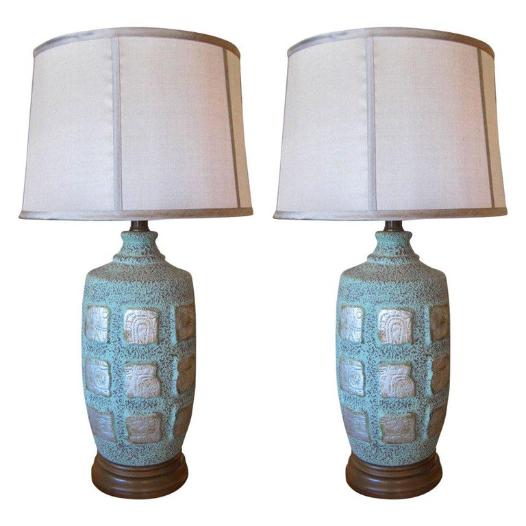 Pair of Mayan Glyph Ceramic Lamps with Faux Copper Oxidized Finish For Sale