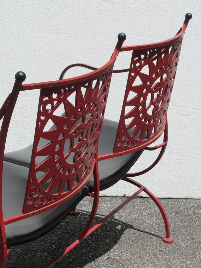Mayan Sun Two Seat Iron Bench Settees by Arthur Umanoff For Sale 3