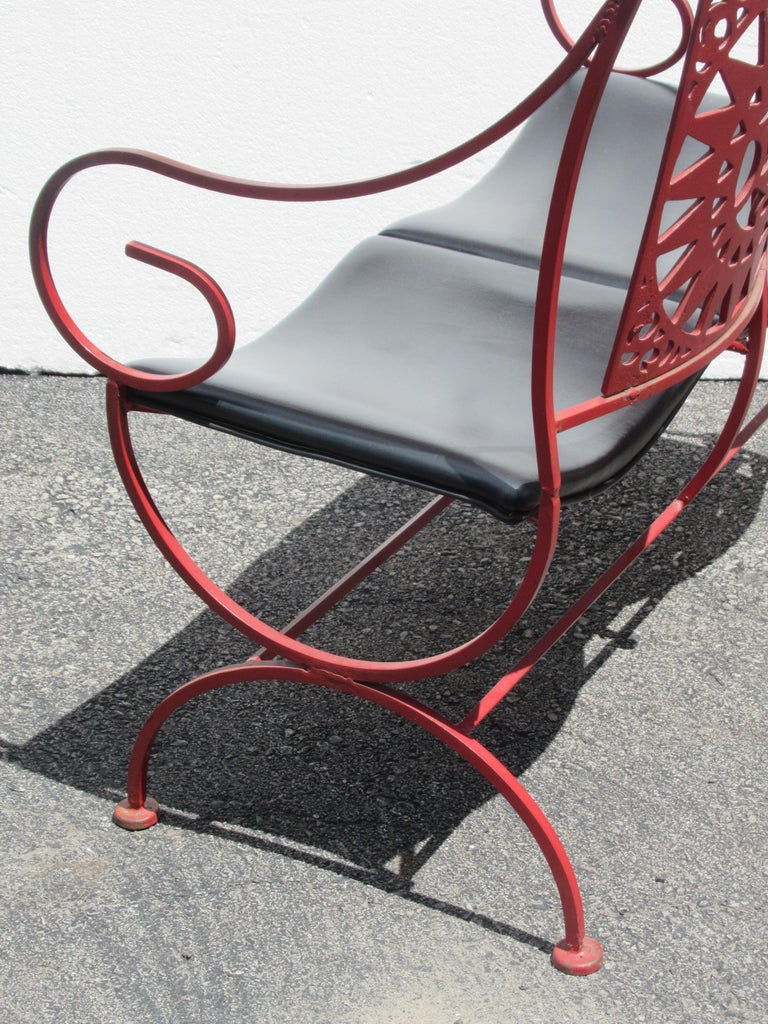 Mayan Sun Two Seat Iron Bench Settees by Arthur Umanoff For Sale 4