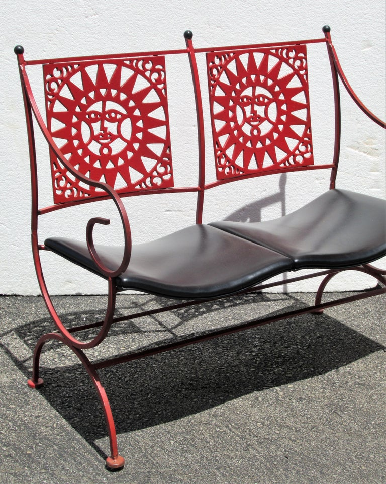 Mayan Sun Two Seat Iron Bench Settees by Arthur Umanoff For Sale 7