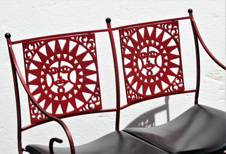Mayan Sun Two Seat Iron Bench Settees by Arthur Umanoff For Sale 8