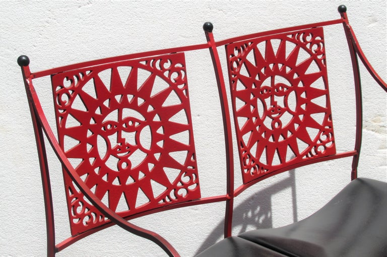 American  Mayan Sun Two Seat Iron Bench Settees by Arthur Umanoff For Sale