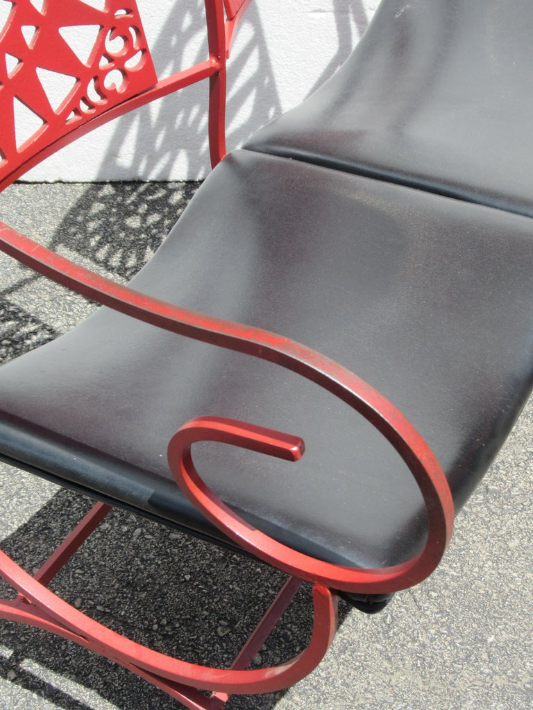 Mayan Sun Two Seat Iron Bench Settees by Arthur Umanoff In Good Condition For Sale In Rochester, NY