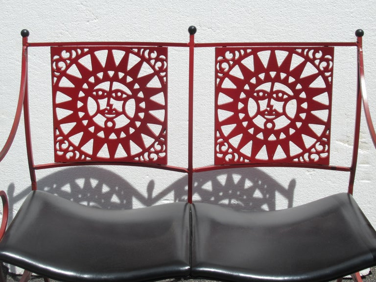 20th Century  Mayan Sun Two Seat Iron Bench Settees by Arthur Umanoff For Sale