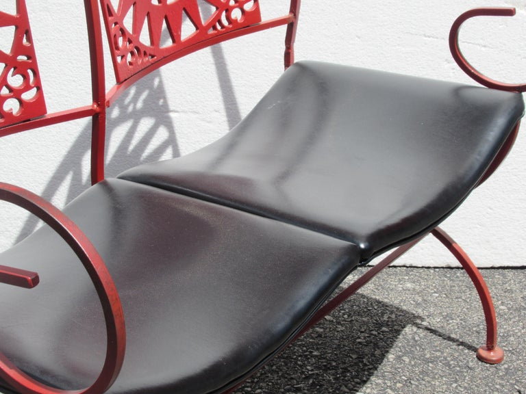 Mayan Sun Two Seat Iron Bench Settees by Arthur Umanoff For Sale 2