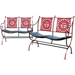 Mayan Sun Two Seat Iron Bench Settees by Arthur Umanoff