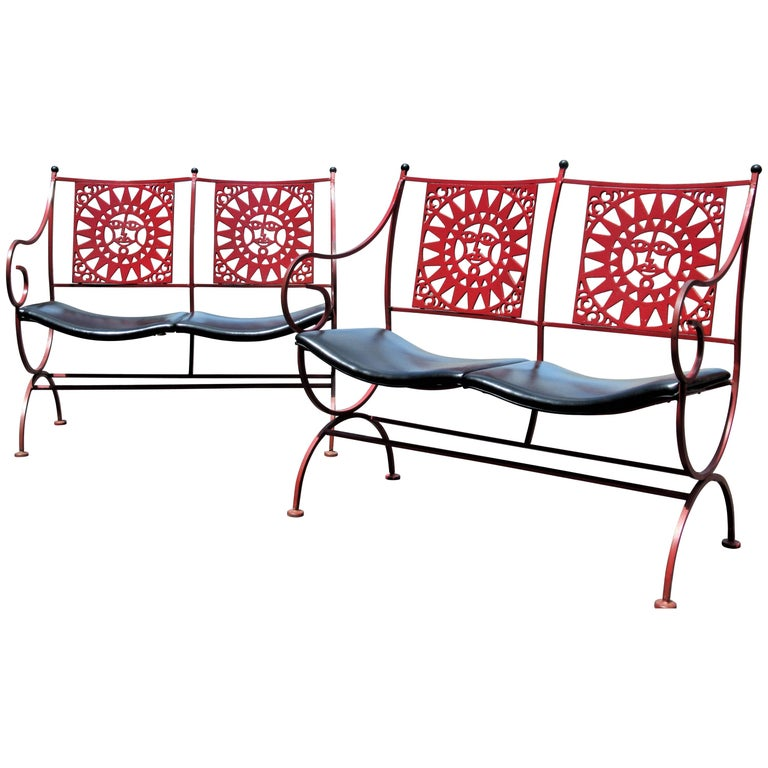 Mayan Sun Two Seat Iron Bench Settees by Arthur Umanoff For Sale