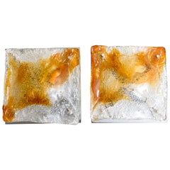 Pair of Mazzega Murano Glass Abstract Wall Sconces, Italy, 1970