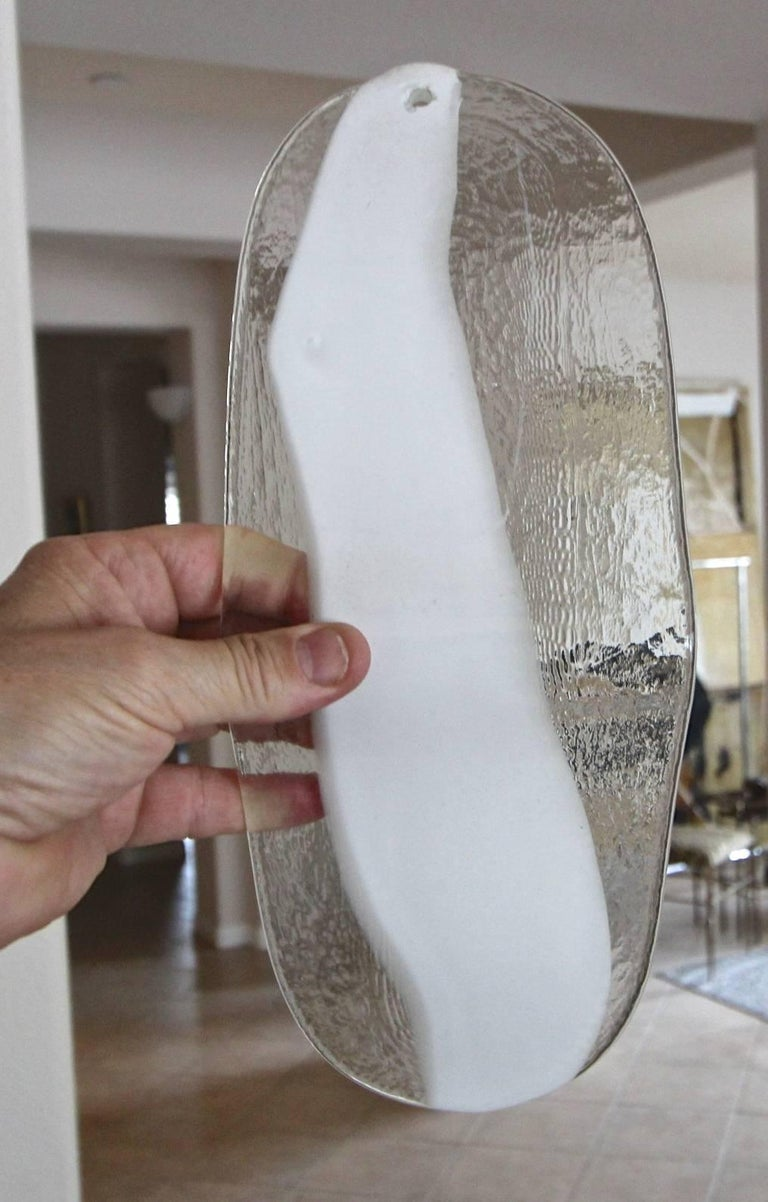 Pair of Mazzega Murano White and Clear Glass Wall Sconces For Sale 9