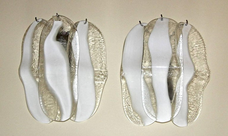 Pair of Mazzega Murano White and Clear Glass Wall Sconces For Sale 11