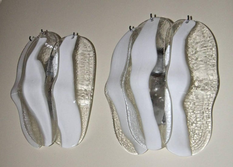 Italian Pair of Mazzega Murano White and Clear Glass Wall Sconces For Sale