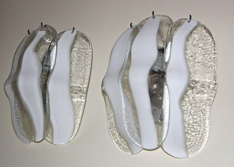Mid-20th Century Pair of Mazzega Murano White and Clear Glass Wall Sconces For Sale