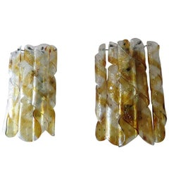 Pair of Mazzega Torciglione Murano Glass Sconces