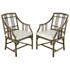Pair of McGuire Balboa Rattan Armchairs or Dining Chairs