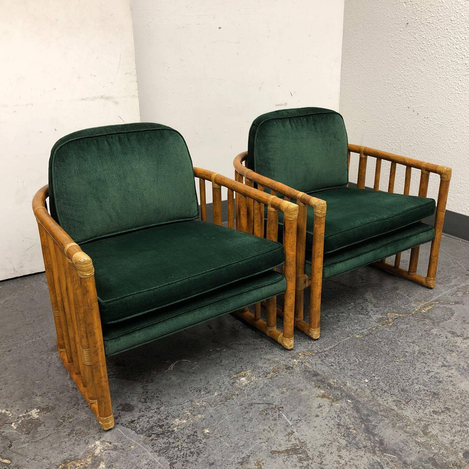 Pair Of McGuire Bamboo And Leather Wrap Barrel Chairs In Good Condition For  Sale In San
